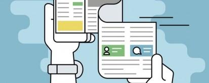 Ilustração representando uma espécie de folha de jornal saindo de um smartphone conectado a um site de notícias | Assessoria de imprensa online, suas atribuições e caminhos