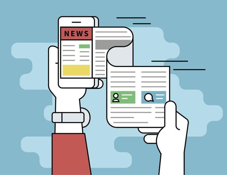 Ilustração representando uma espécie de folha de jornal saindo de um smartphone conectado a um site de notícias   Assessoria de imprensa online, suas atribuições e caminhos