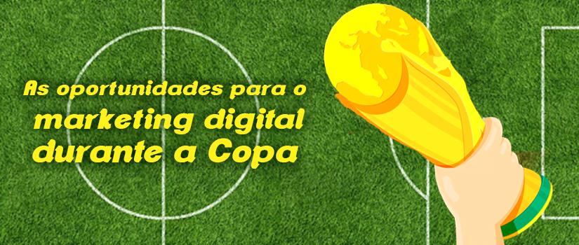 Desenho de gramado e de mão segurando troféu ao lado do título do texto | As oportunidades para o marketing digital durante a Copa