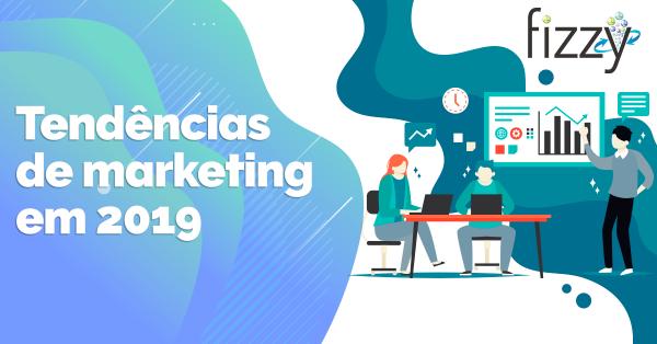 Capa blog com frase do titulo do texto e animação de uma reunião | Tendências de marketing em 2019
