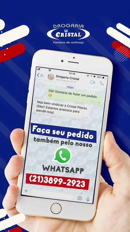 Exemplo de campanha para Drogaria Cristal, levando para o WhatsApp da empresa | Tendências para 2019