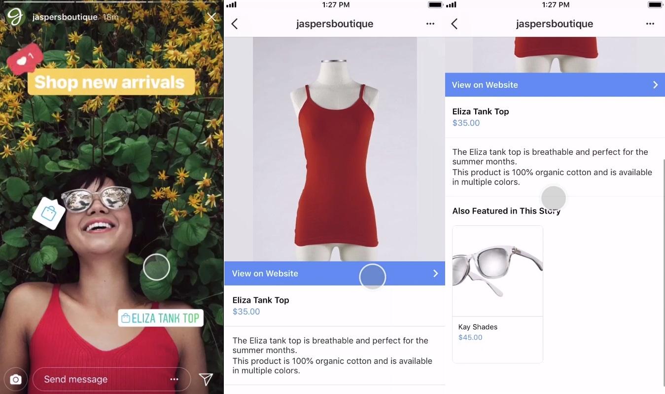 Colagem com capturas de telas mostrando a o processo de compra no Instagram | Tendências para 2019